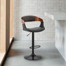 Benson Adjustable Black Faux Leather and Walnut Wood Bar Stool with Chrome Base