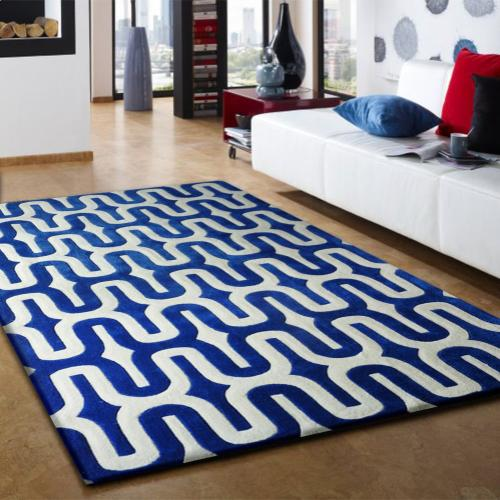 Durable Hand Tufted Transition TF36 Area Rug by Rug Factory Plus - 5' x 7' / Blue