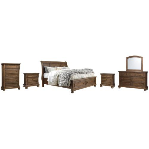 King Sleigh Bed With 2 Storage Drawers With Mirrored Dresser, Chest and 2 Nightstands