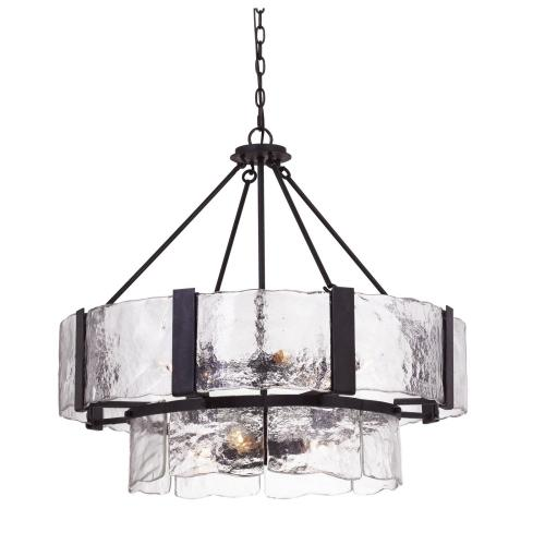 60W X 9 Siena Forged Iron Chandelier With Hand Crafted Glass