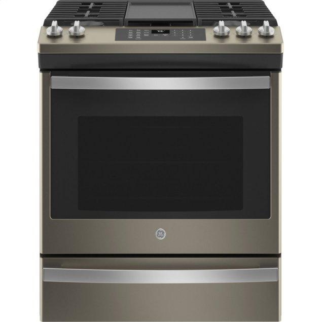 """GE 30"""" Slide-In Front-Control Convection Gas Range with No Preheat Air Fry"""