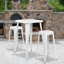 "Commercial Grade 23.75"" Square White Metal Indoor-Outdoor Bar Table Set with 2 Square Seat Backless Stools"