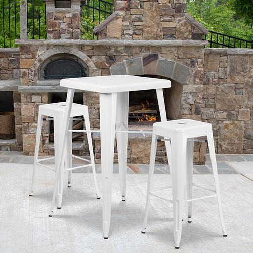 """Product Image - Commercial Grade 23.75"""" Square White Metal Indoor-Outdoor Bar Table Set with 2 Square Seat Backless Stools"""