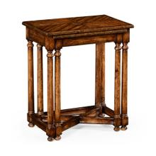 Walnut parquet nesting tables with contrast inlay