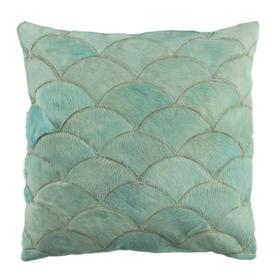 Metallic Scale Cowhide Pillow - Teal