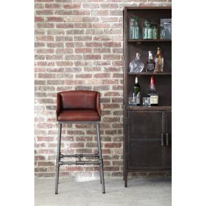 Accentrics Home - Brandon Industrial Leather Barstool