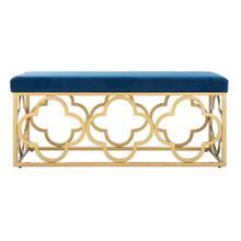 Fleur Rectangle Bench - Navy Velvet / Gold
