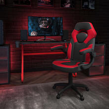 Red Gaming Desk and Red\/Black Racing Chair Set with Cup Holder and Headphone Hook