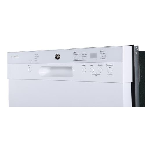 "GE 24"" Built-In Front Control Dishwasher with Stainless Steel Tall Tub White - GBF532SGMWW"