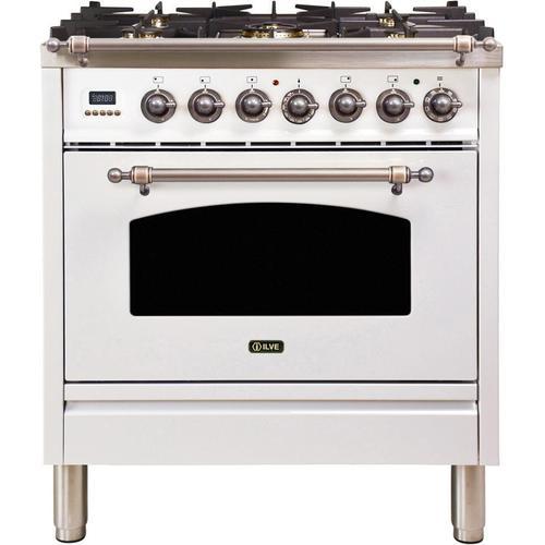 Nostalgie 30 Inch Dual Fuel Natural Gas Freestanding Range in White with Bronze Trim
