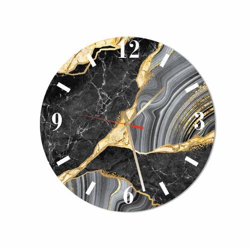 Grako Design - Black Gold Marble Round Square Acrylic Wall Clock