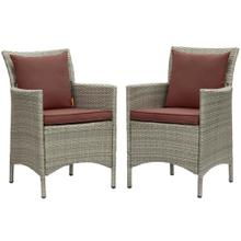 Conduit Outdoor Patio Wicker Rattan Dining Armchair Set of 2 in Light Gray Currant