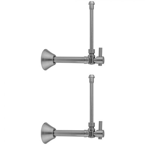 """Satin Brass - Quarter Turn Angle Pattern 1/2"""" Copper (Sweat Fit) x 3/8"""" O.D. Faucet Supply Kit with Contempo Lever Handle, 20"""" Supply Tubes & Bell Escutcheons"""