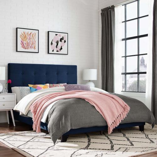 Modway - Melanie Queen Tufted Button Upholstered Performance Velvet Platform Bed in Midnight Blue