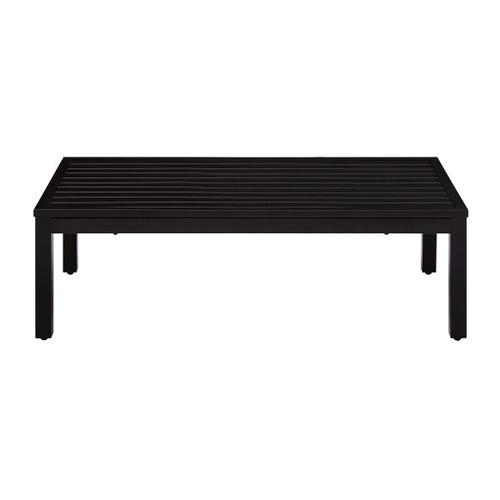 Metal X Back Upholstered Outdoor Loveseat and Table Set in Black / Beige