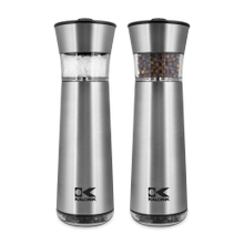Product Image - Kalorik Electric Gravity-Activated Salt and Pepper Mills, Stainless Steel