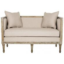 See Details - Leandra Linen French Country Settee - Taupe / Rustic Oak