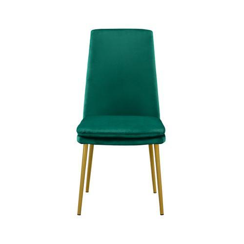 Modern Upholstered Dining Chair in Green Velvet (2pc)