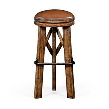Country living style walnut bar stool