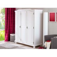 20900110 - Solid Wood Bastian 3-Door Wardrobe With Lock, Whitewash