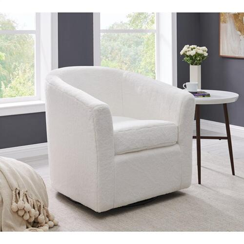Hayden Faux Fur Fabric Swivel Accent Arm Chair, Fleece White