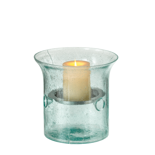 Small Recycled Bubble Glass Pillar Holder