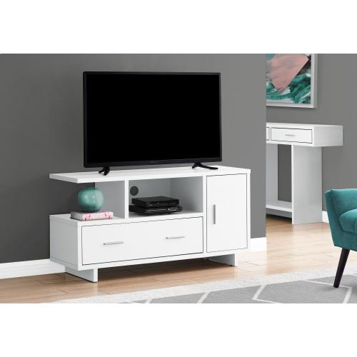 """Gallery - TV STAND - 48""""L / WHITE WITH STORAGE"""