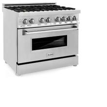 ZLINE 36 in. Professional 4.0 cu. ft. 4 Gas Burner/Electric Oven Range in Stainless Steel with Brass Burners (RA-BR-36)