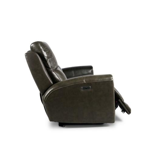 Laurel Leather Dual-Power Reclining Sofa, Grey