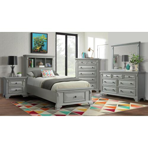 Calloway Twin Storage Bookcase Bed with USB in Gray