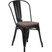 Black Metal Stackable Chair with Wood Seat