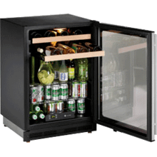 "Floor Model - U-Line Stainless Field reversible 24"" Beverage Center / Double Zone Temperature System"