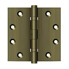 """View Product - 4-1/2"""" x 4-1/2"""" Square Hinges, Ball Bearings - Antique Brass"""