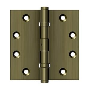 """4-1/2"""" x 4-1/2"""" Square Hinges, Ball Bearings - Antique Brass"""