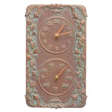 See Details - Acanthus Indoor Outdoor Wall Clock & Thermometer - Copper Vedigris