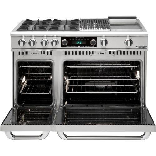 "48"" Range w/ 6 Sealed Burners @ 19K BTU's / hr Dual Fuel Self Clean"