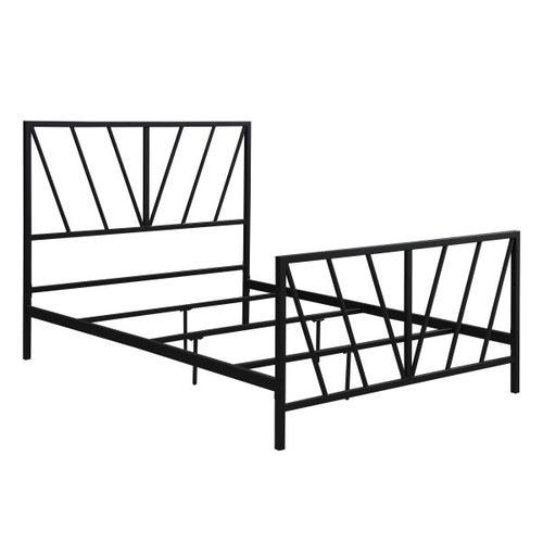 Black Chevron Full Metal Bed