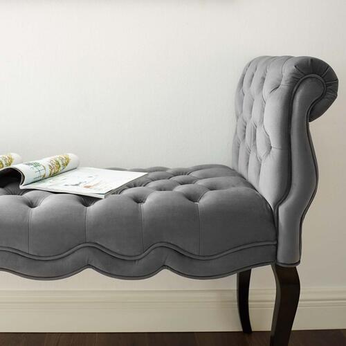 Adelia Chesterfield Style Button Tufted Performance Velvet Bench in Gray