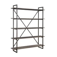 "Emerald Home Atari Bookshelf 60"" W/5 Shelves Metal Frame, Antique Gray Shelves Ac330-60"