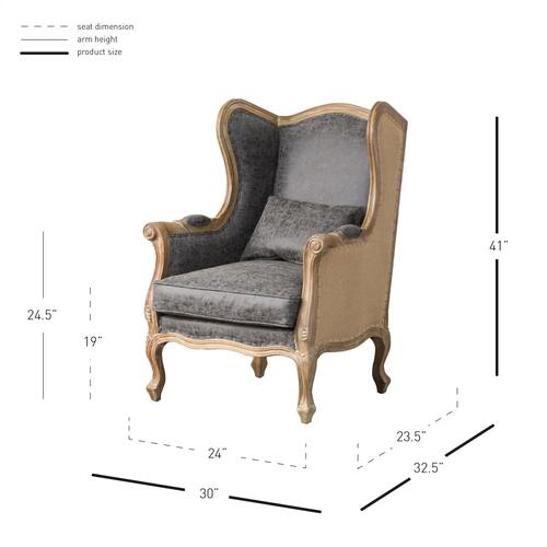 Guinevere Wing Arm Chair, Nubuck Charcoal/Burlap