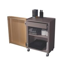 Aeri gray freestanding storage unit with a drawer, two shelves and casters.