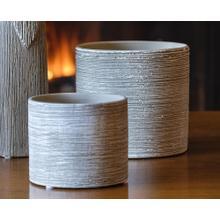 Wood Carved Planter - Set of 2