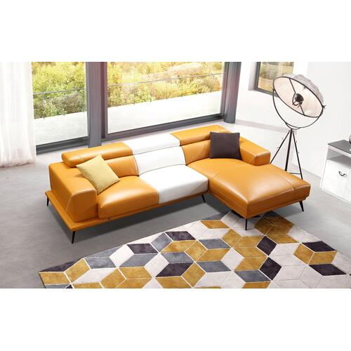Divani Casa Bardem Modern Orange & White Eco-Leather Sectional Sofa