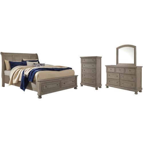 Ashley - King Sleigh Bed With 2 Storage Drawers With Mirrored Dresser and Chest