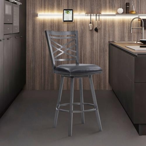"""Fargo 30"""" Bar Height Metal Barstool in Mineral Finish with Black Faux Leather"""