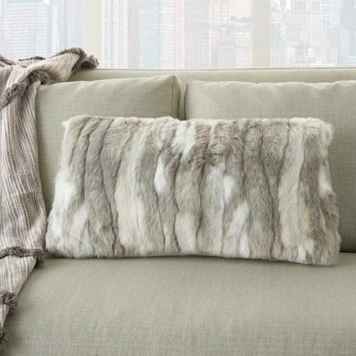 """Fur Vv017 Grey 1'2"""" X 2' Throw Pillow"""