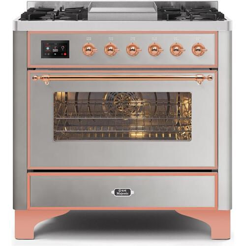 Gallery - Majestic II 36 Inch Dual Fuel Natural Gas Freestanding Range in Stainless Steel with Copper Trim