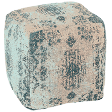 Turquoise Antique Wash Medallion Jacquard Woven Pouf