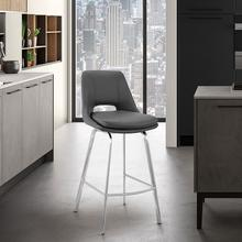 """View Product - Carise Grey Faux Leather and Brushed Stainless Steel Swivel 26"""" Counter Stool"""
