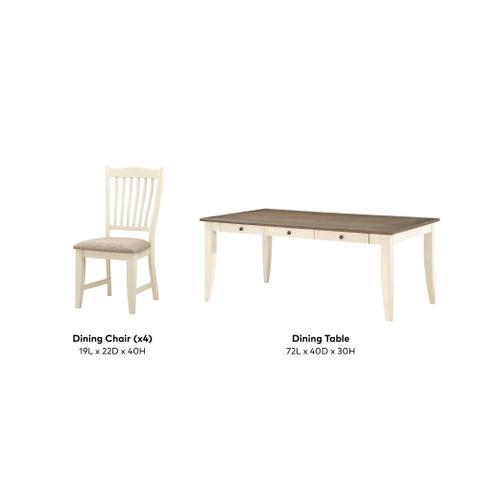 Buchanan 5 Piece Dining Set, Whitewash 1147-dining-5pc-k